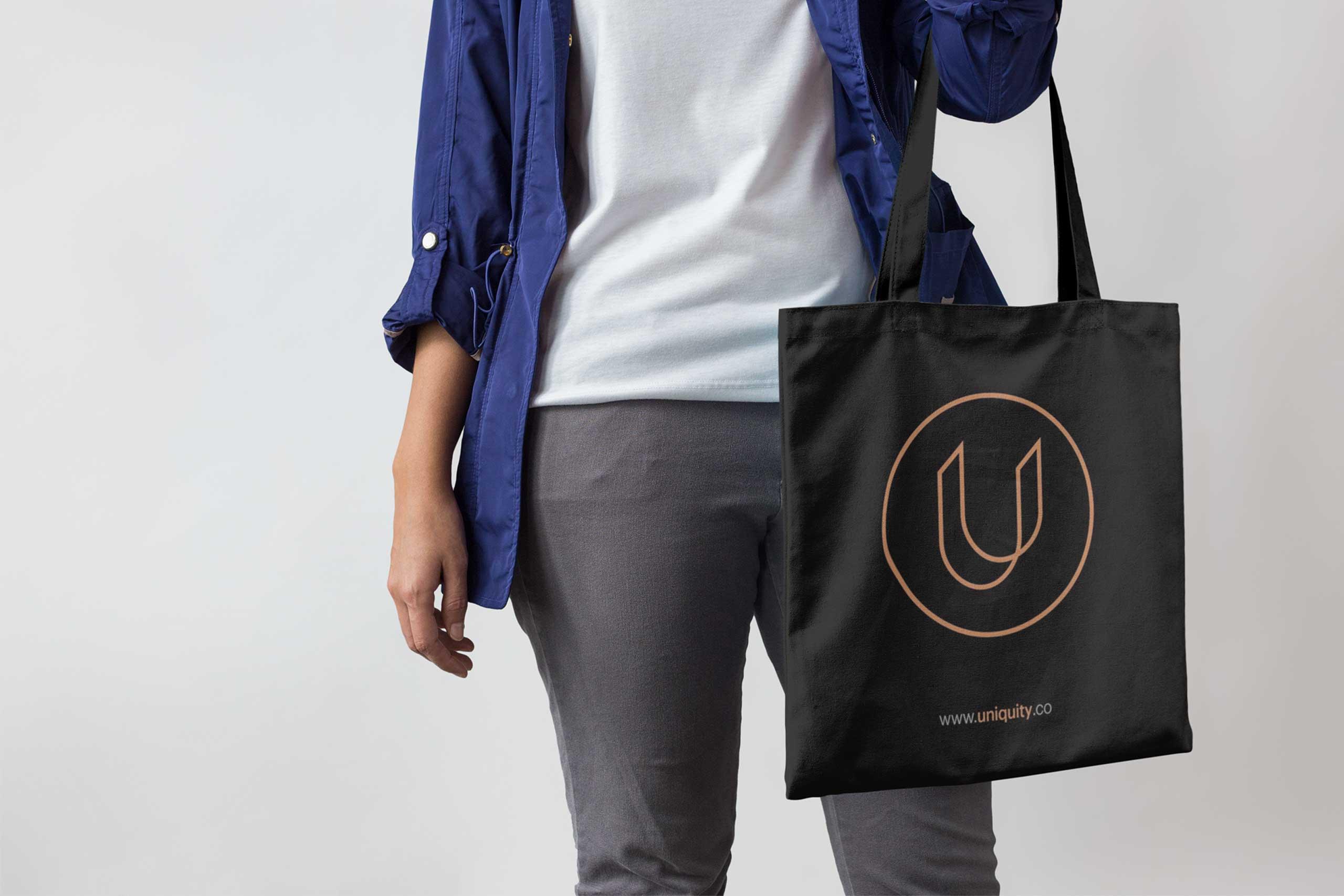 uniquity branding black tote