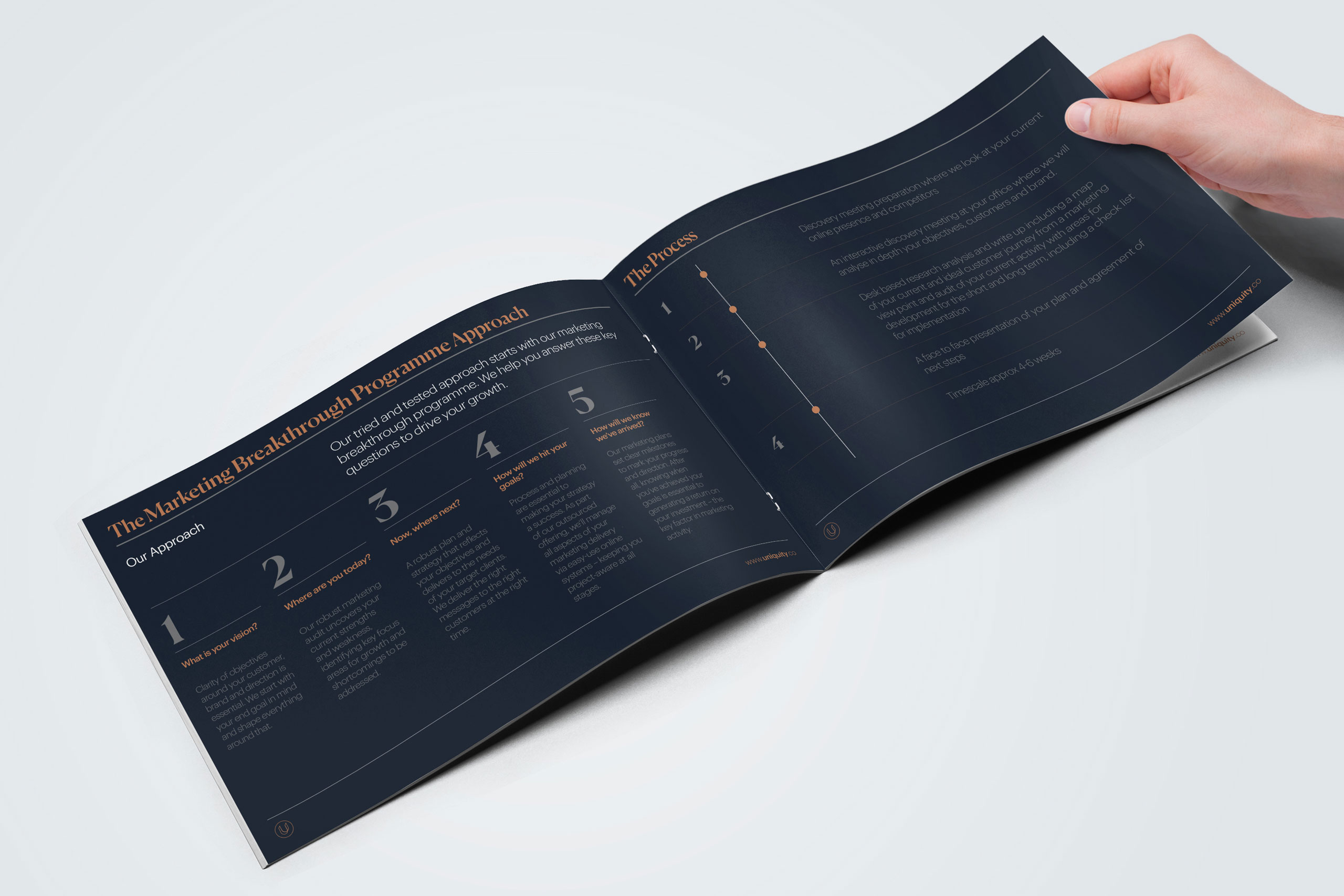brochure opening for uniquity design