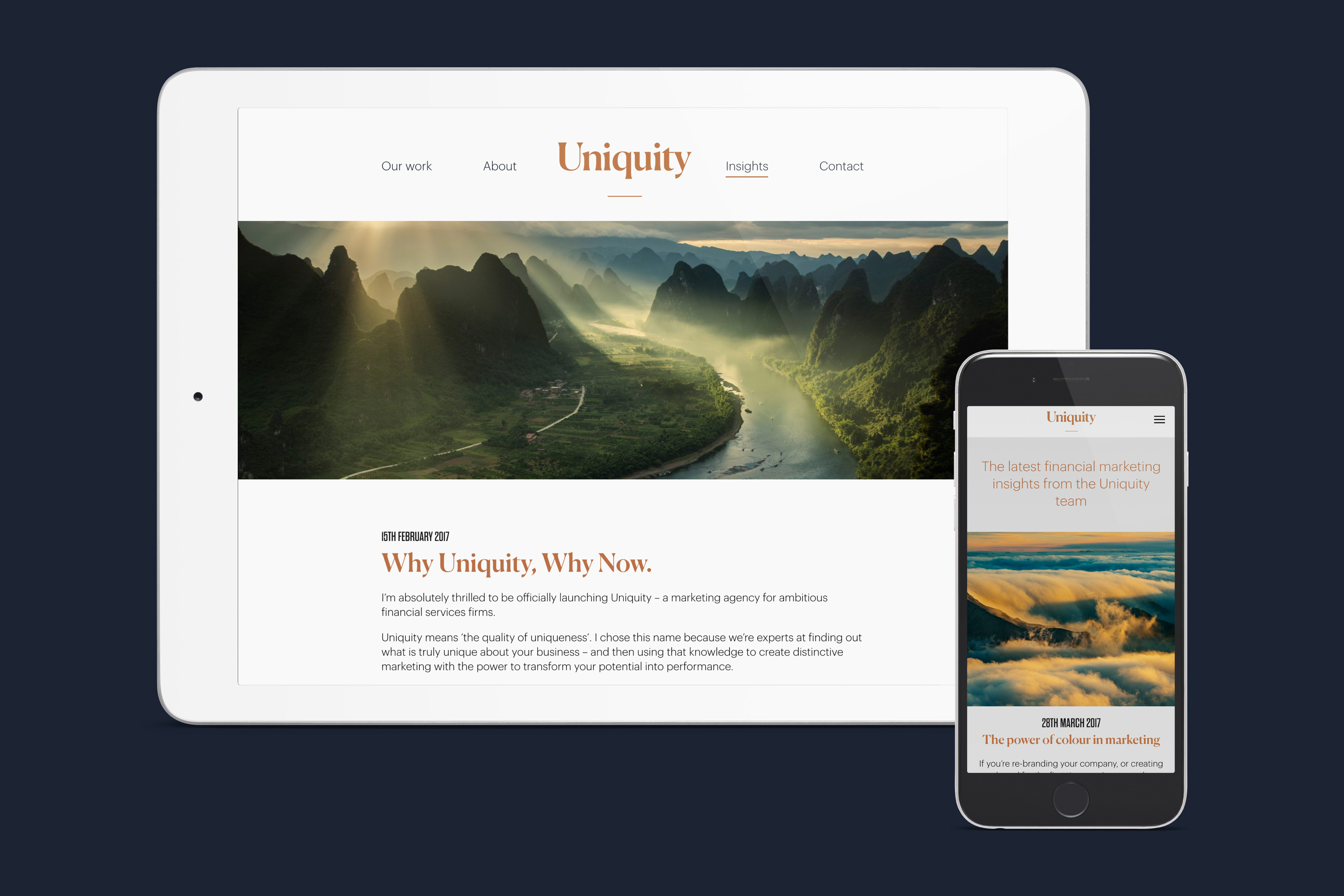 mobile and tablet design for uniquity