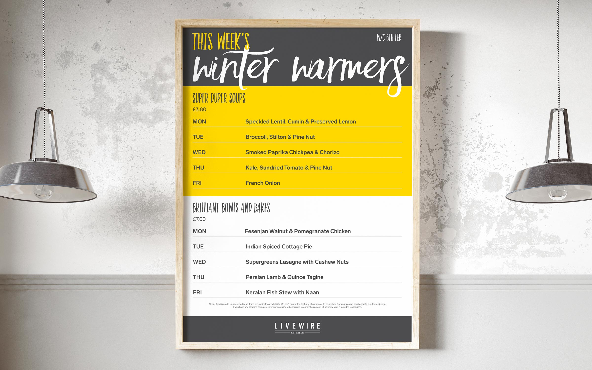 Menu design livewire kitchen
