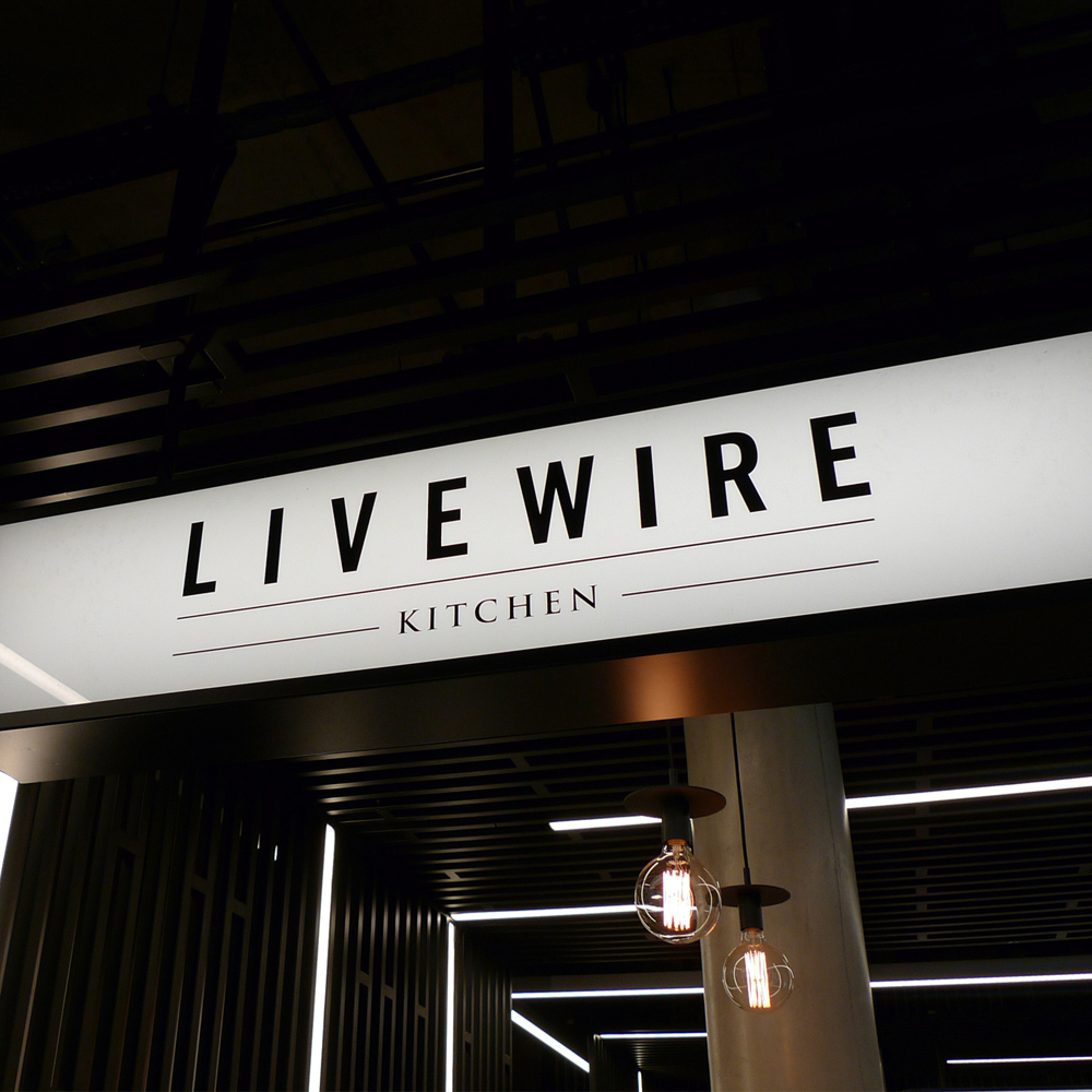 signage for livewire kitchen